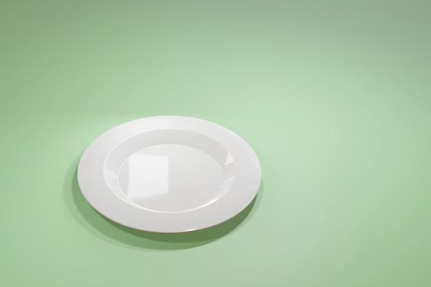 Классическая белая керамическая тарелка для ресторана или кафе, вид сбоку на светло-зеленом пастельном фоне.