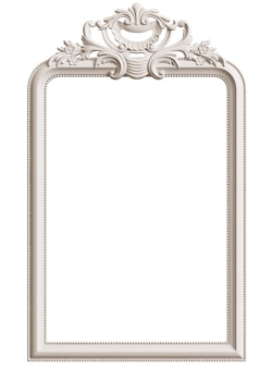 Classic white frame with ornament decor for classic interior isolated