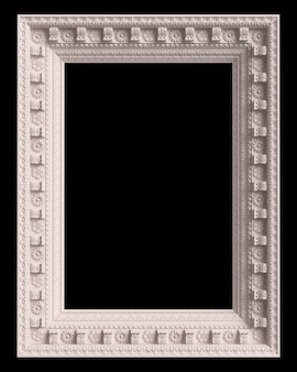 Classic white frame with ornament decor isolated on black background. digital illustration. 3d rendering