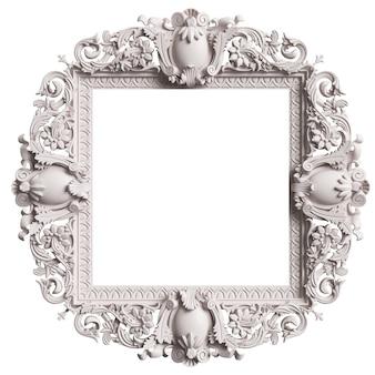 白い背景で隔離の飾りの装飾と古典的な白いフレーム。デジタルイラスト。 3dレンダリング