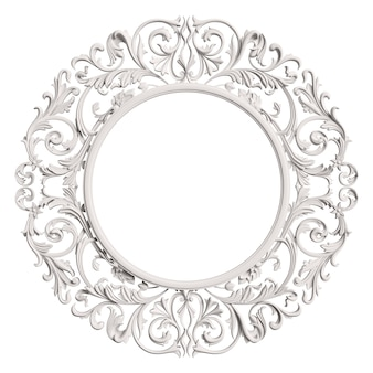 Classic  white frame with ornament decor isolated