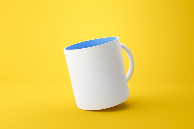 Classic white mug and blue inside on vivid yellow summer background with blank template mockup style. empty cup or drink mug. 3d rendering.