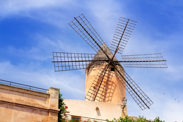 Classic windmills from balearics in palma de majorca