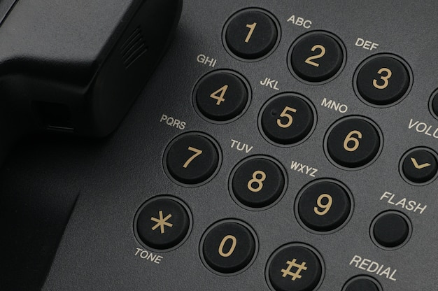 Classic wired telephone close up