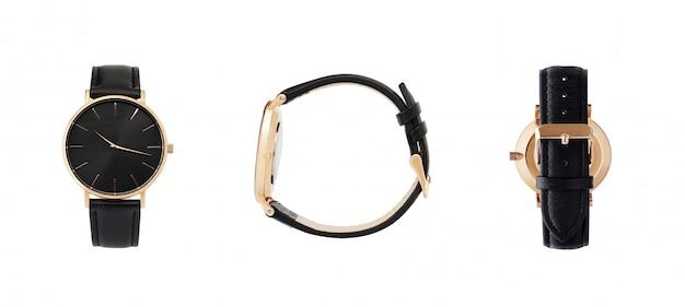 Классические женские золотые часы с черным циферблатом, кожаный ремешок, изолят на белом фоне