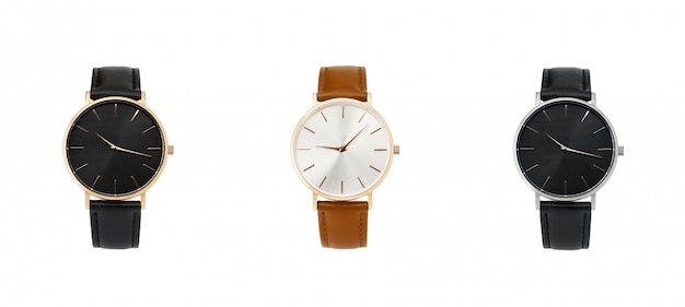 Classic women gold watch black dial, leather strap, isolate on white background