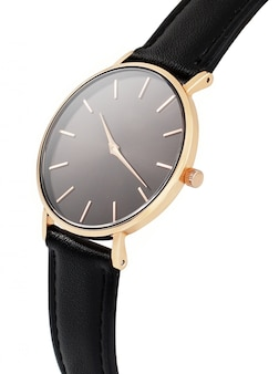 Classic women's gold watch with a black dial, leather strap
