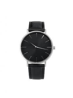 Classic women silver watch black dial, leather strap