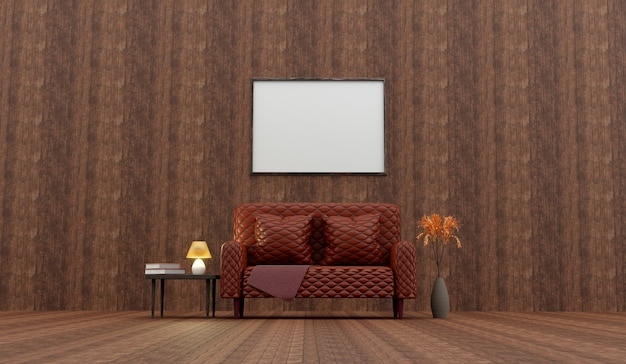 Classic wood interior with capitone brown leather  sofa.3d rendering