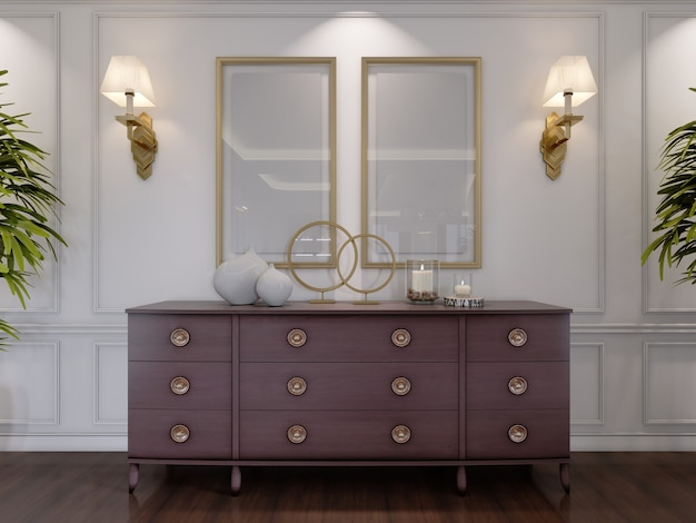 Classic wooden chest of drawers with sliding cabinets and empty paintings and sconces on the wall in the dining room. 3d rendering