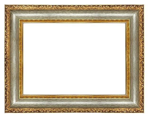 Classic wooden elegant blank frame isolated on white background