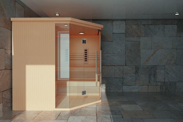 Классическая деревянная ультракрасная финская кабина сауны в крупном плане интерьера ванной комнаты крайнем. 3d рендеринг