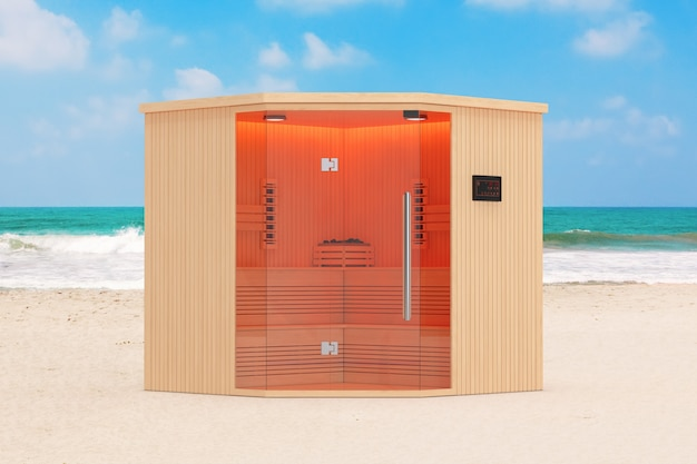 Classic wooden infrarered finnish sauna cabin on the ocean or sea sand beach extreme closeup. 3d rendering