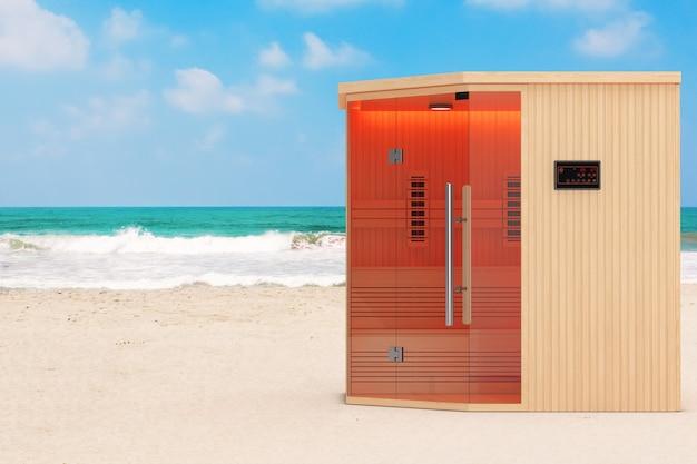 Классическая деревянная ультракрасная финская кабина сауны на океане или крупном плане экстремального пляжа песка моря. 3d рендеринг