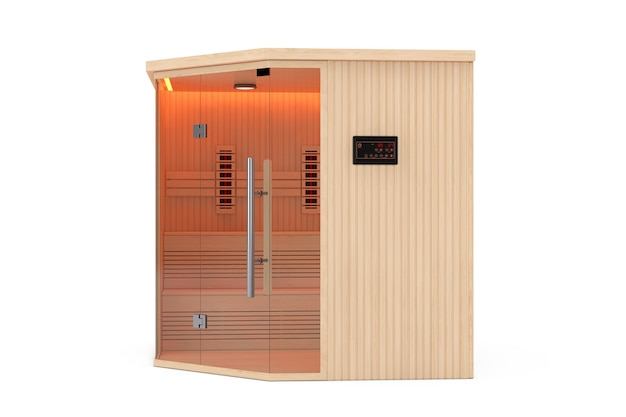 Classic wooden infrarered finnish sauna cabin on a white background. 3d rendering
