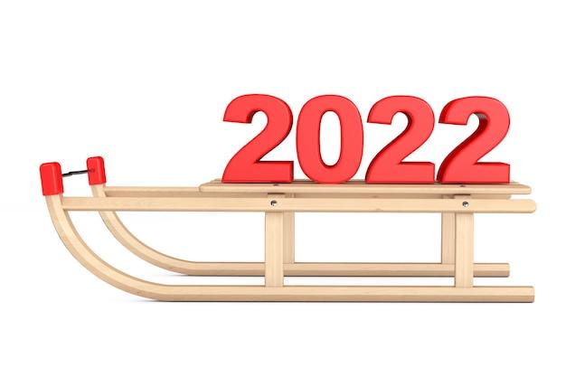 Классические деревянные сани с новогодним знаком 2022 года на белом фоне. 3d рендеринг