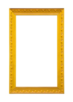 Classic yellow painting canvas frame isolated on white background