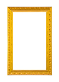 Classic yellow painting canvas frame isolated on white