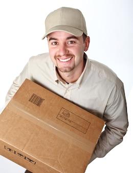 Классический молодой доставщик вид сверху изолированы