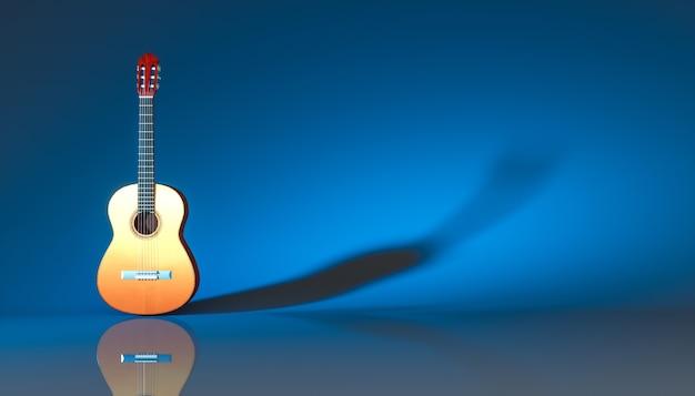 青い背景の上の古典的なアコースティックギター、3dイラスト
