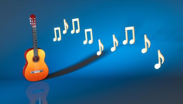 青い背景、3dイラストにノートとクラシックアコースティックギター