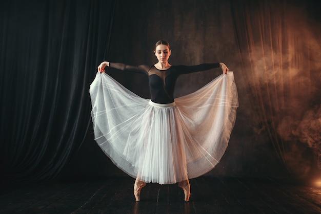 Артист классического балета в движении на сцене театра. изящная балерина позирует в студии