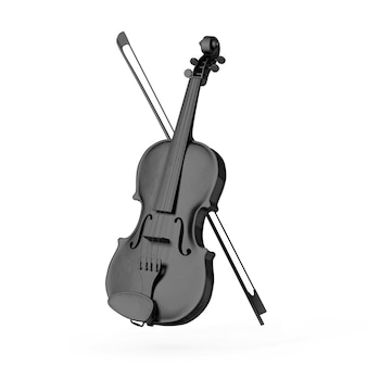 Classical black wood violin with bow on a white background. 3d rendering