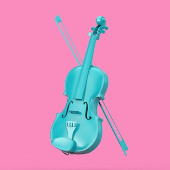 Classical blue violin with bow in duotone style on a pink background. 3d rendering