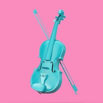 Классическая синяя скрипка с бантом в стиле дуплекса на розовом фоне. 3d рендеринг