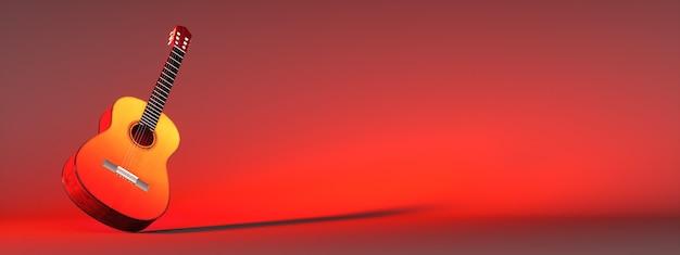 赤い背景の上のクラシックギター、3dイラスト