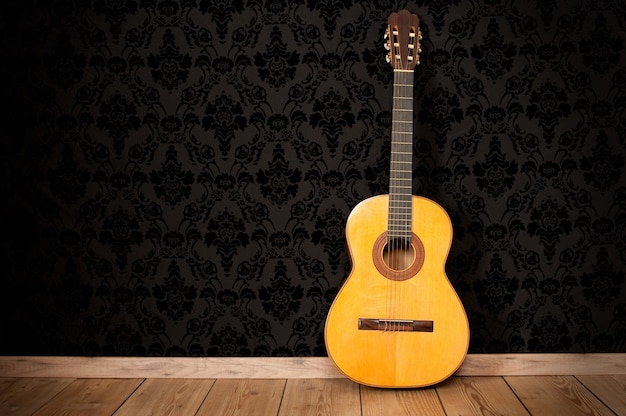 Classical guitar in a vintage background
