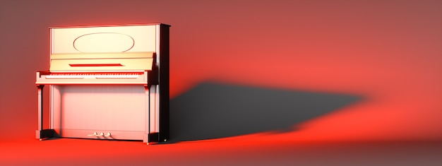 Classical piano on a red background, 3d illustration