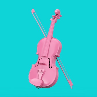 Classical pink violin with bow in duotone style on a blue background. 3d rendering