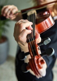 Classical player hands. details of violin playing.