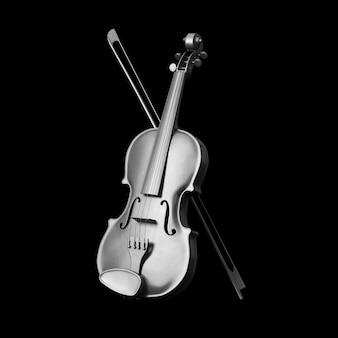 Классическая серебряная скрипка с бантом на черном фоне. 3d рендеринг