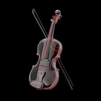 Классическая скрипка из стекла с бантом на белом фоне. 3d рендеринг