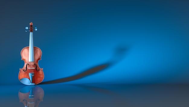 Классическая скрипка на синем фоне, 3d иллюстрация