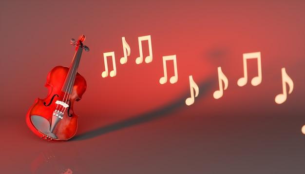 Классическая скрипка на красном фоне, 3d иллюстрация