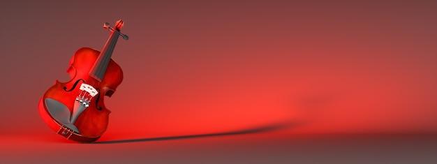 빨간색 배경, 3d 그림에 클래식 바이올린