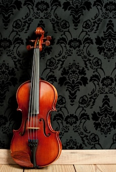 Classical violin in vintage wall