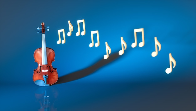 Classical violin with notes on a blue background, 3d illustration