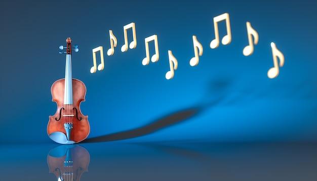 Классическая скрипка с нотами на синем фоне, 3d иллюстрация