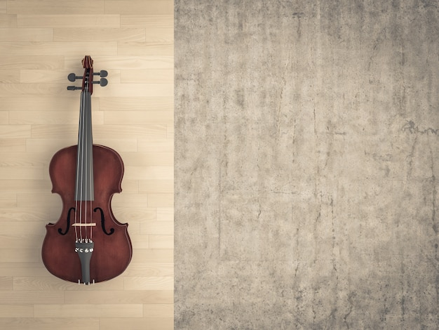 Classical violin on wooden background and raw cement.