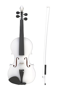Classical white violin with bow isolated on white background, string instrument