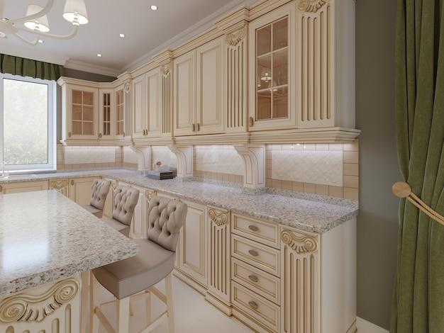木製のディテール、ベージュの豪華なインテリアデザイン、3dレンダリングを備えたクラシックな木製キッチン