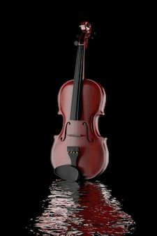 Classical wooden violin on a black background. 3d rendering