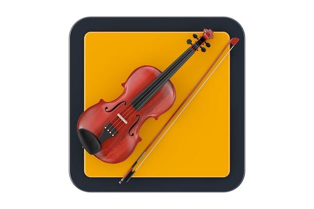 Классическая деревянная скрипка с бантом как кнопка значка сети touchpoint на белой предпосылке. 3d рендеринг