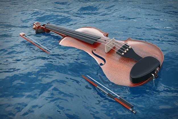 Классическая деревянная скрипка с смычком в голубом океане волн экстремальном крупном плане. 3d рендеринг