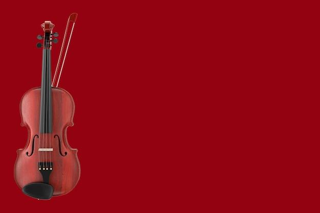 Классическая деревянная скрипка с бантом на красном фоне. 3d рендеринг