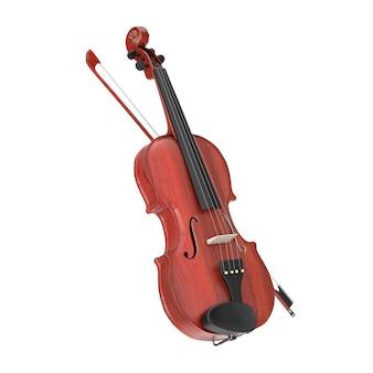 Классическая деревянная скрипка с бантом на белом фоне. 3d рендеринг